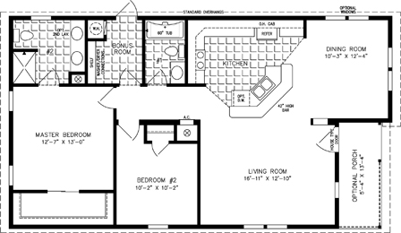 Manufactured home  Floor Plan: The T N R Model TNR-6481B  2 Bedrooms, 2 Baths
