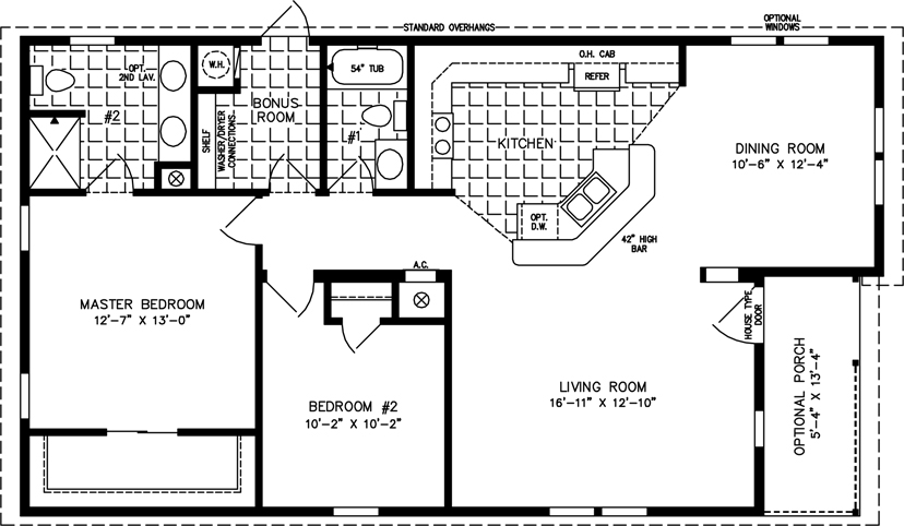Manufactured home Floor Plan  The T N R Model TNR 6481B 2 Bedrooms. Two Bedroom Mobile Homes l 2 Bedroom Floor Plans