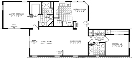 Manufactured home Floor Plan: The T N R Model TNR-6483B  2 Bedrooms, 2 Baths