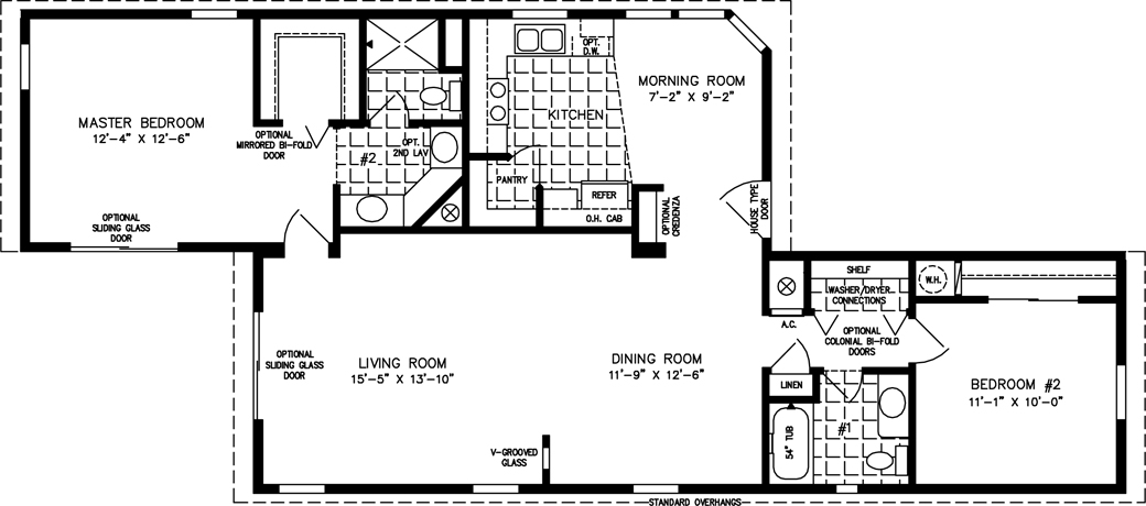 1000 to 1199 sq ft manufactured home floor plans for Rv with 2 master bedrooms