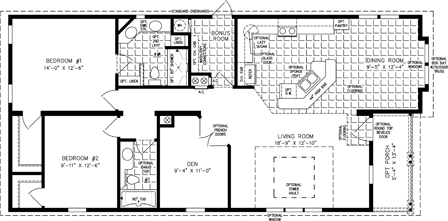 Manufactured Home Floor Plan: The TNR | Model TNR-6563B  2 Bedrooms, 2 Baths