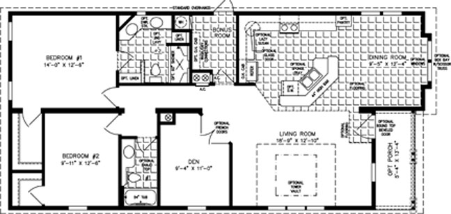 Manufactured Home Floor Plan: The TNR • Model TNR-6563B  2 Bedrooms, 2 Baths