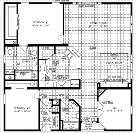 Manufactured Home Floor Plan: The T N R | Model TNR-7401-33941  2 Bedrooms, 2 Baths