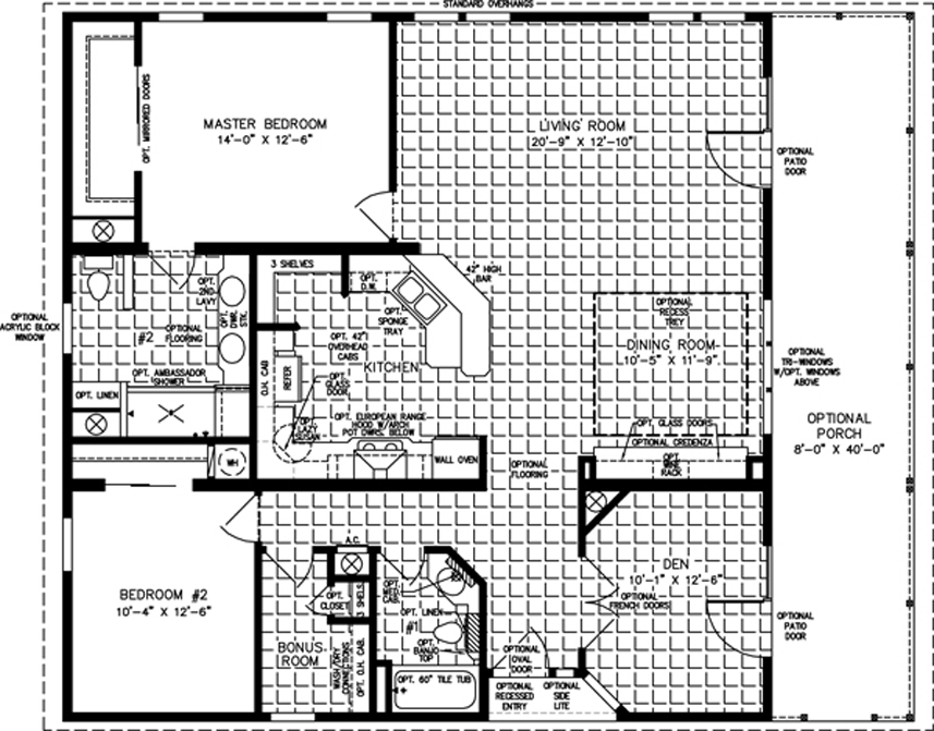 Amazing 2 Bedroom Mobile Home Plans #9: Manufactured Home Floor Plan: The T N R U2022 Model TNR-7401-33941 2 Bedrooms  ...