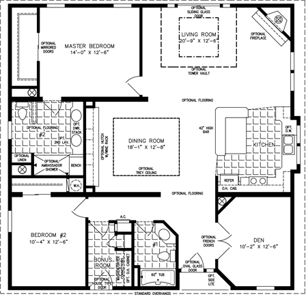 Two Bedroom Mobile Home Floor Plans | Jacobsen Homes