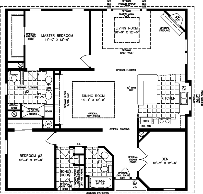 Manufactured home Floor Plan: The T N R • Model TNR-7402  2 Bedrooms, 2 Baths
