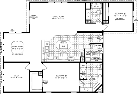 Manufactured Home Floor Plan: The T N R | Model TNR-7441  2 Bedrooms, 2 Baths