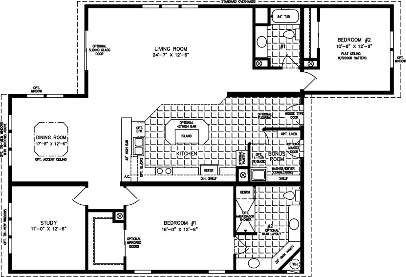 Manufactured Home Floor Plan: The T N R • Model TNR-7441  2 Bedrooms, 2 Baths