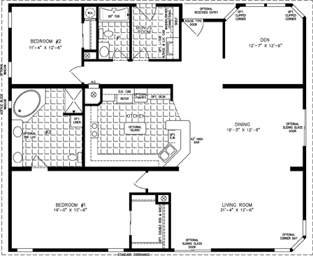 Manufactured Home Floor Plan: The T N R | Model TNR-7482  2 Bedrooms, 2 Baths