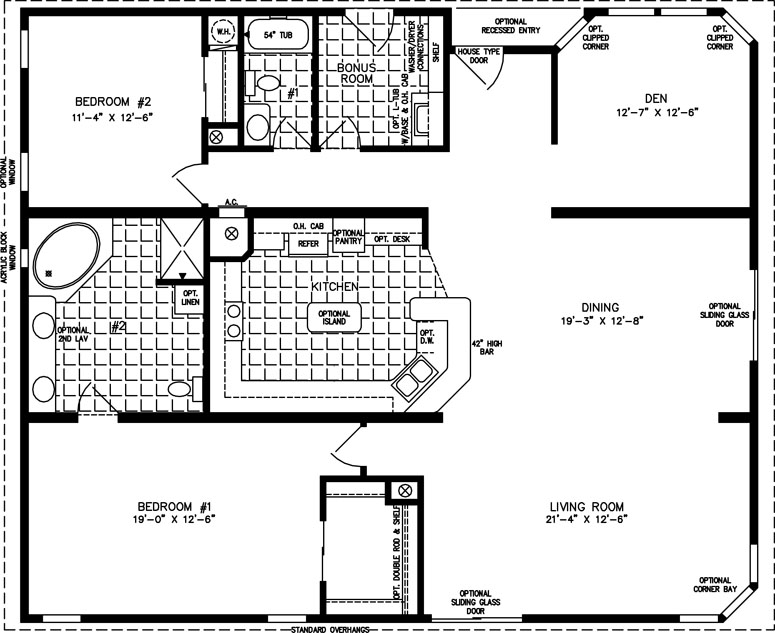 Ordinary 2 Bedroom Mobile Home Plans #5: Manufactured Home Floor Plan: The T N R U2022 Model TNR-7482 2 Bedrooms, 2 ...