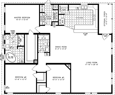 Manufactured Home Floor Plan: The T N R | Model TNR-7483  3 Bedrooms, 2 Baths Triple Wide