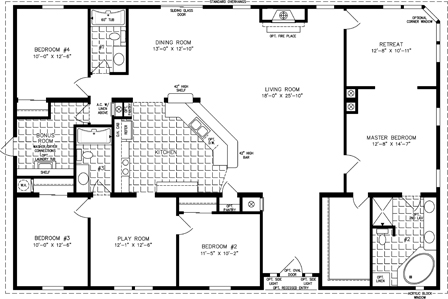 Manufactured Home Floor Plan: The T N R | Model TNR-7604  4 Bedrooms, 3 Baths