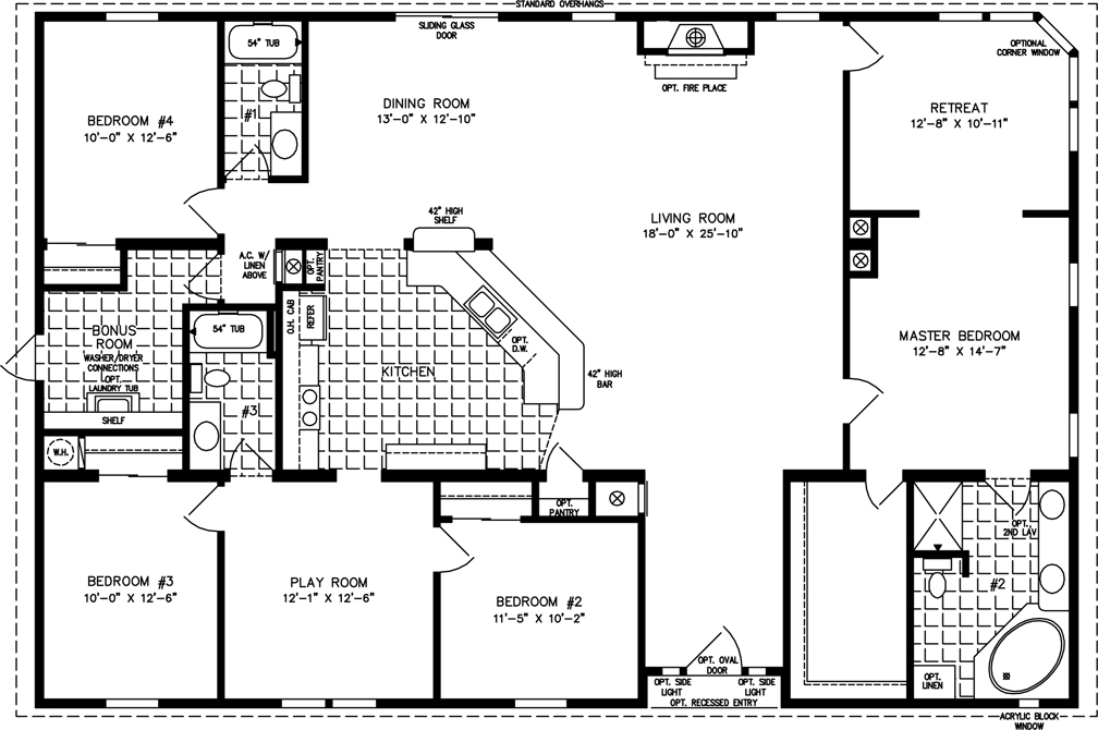 manufactured home floor plan the t n r model tnr 7604 4 bedrooms - Home Floor Plans