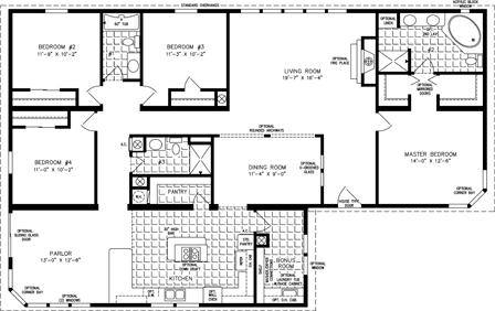 Manufactured Home Floor Plan: The T N R | Model TNR-7642  4 Bedrooms, 2 Baths