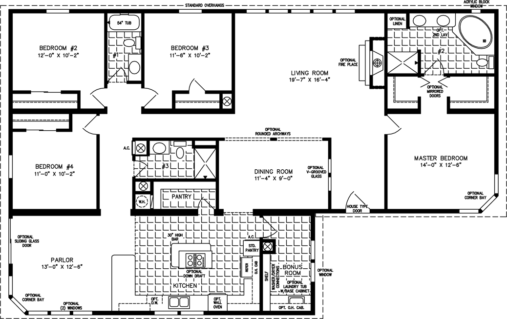 Manufactured homes floor plans jacobsen homes 4 bedroom 3 bath house floor plans