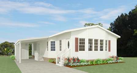 Rendering of a Jacobsen Home with a six window bay and carport