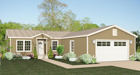 Exterior rendering Jacobsen Home Floor Plan The TNR | Model TNR-44810W with garage