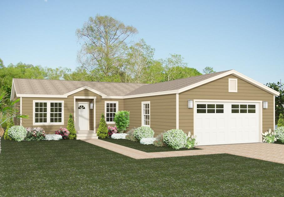 Rendering 3 Bedroom home with front garage