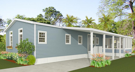 Rendering of a rear view home with a carport and screen room