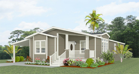 Exterior Rendering of the TNR-6563B with a front entry porch and carport