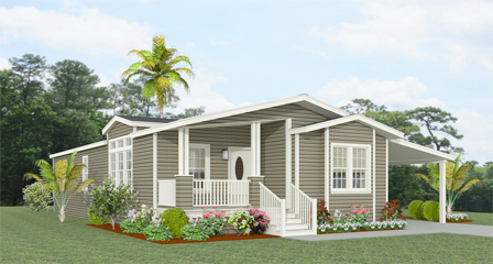 Rendering of a Jacobsen Home TNR-6563B with front entry porch and carport