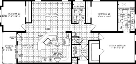 Three Bedroom Jacobsen Home split floor plan