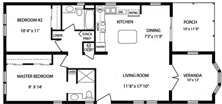Two Bedroom Two Bath with Veranda Room and Porch