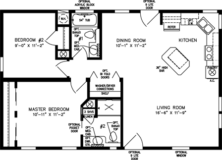 Two Bedroom Two Bath with Front Kitchen