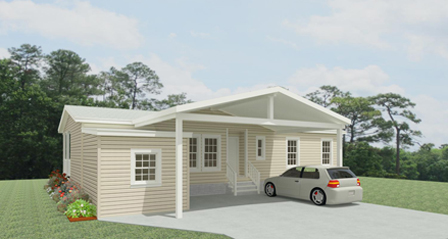 Rendering of a Jacobsen Home with Double Carport