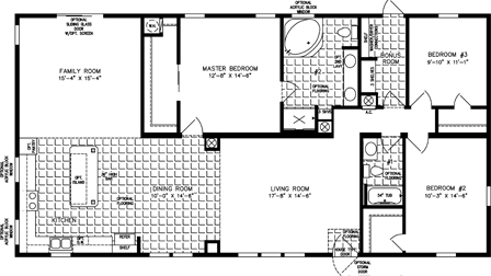 Three Bedroom Two Bath floor plan with Family Room