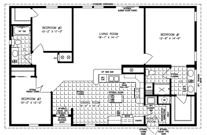 Mobile Home Floor Plan: The Imperial • Model IMP-44819W-505  3 Bedrooms, 2 Baths