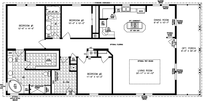 Three bedroom two bath floor plan with full front porch