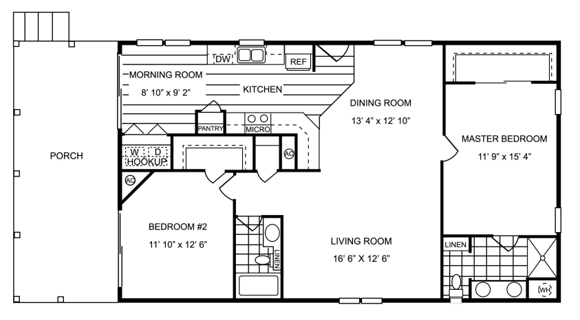 857 sq ft manufactured home floor plan