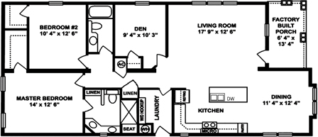 Two Bedroom Two Bath Island Kit with Den