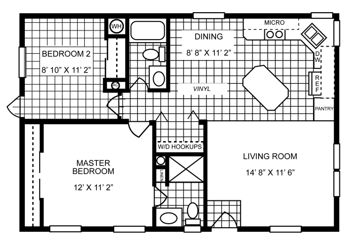 864 sq ft manufactured home floor plan for Home builders floor plans