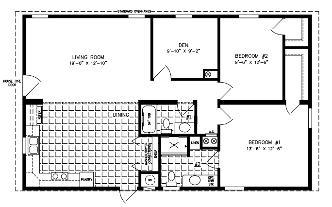 Manufactured home Floor Plan: The Imperial Limited Model IMLT-34411B  2 Bedrooms, 2 Baths