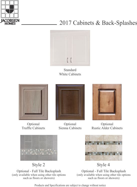2019 Cabinets available in Standard White, or optional Truffle, Sienna, and Rustic Alder