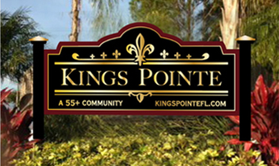 Entry sign for Kings Pointe, a 55+ manufactured home community