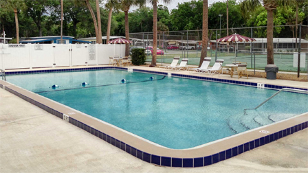 Community pool at Lamplighter manufactured home community in Port Orange Florida