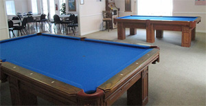 Billiard tables inside clubhouse