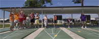Shuffle board courts in Club Wildwood manufactured home community in Hudson Florida