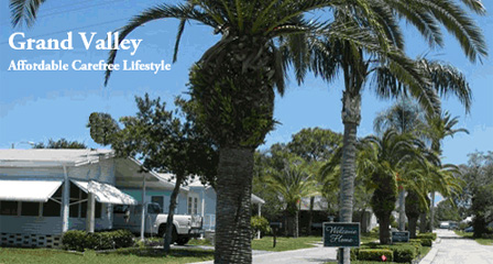 A street scape of manufactured homes in Grand Valley manufactured home community in New Port Richey Florida