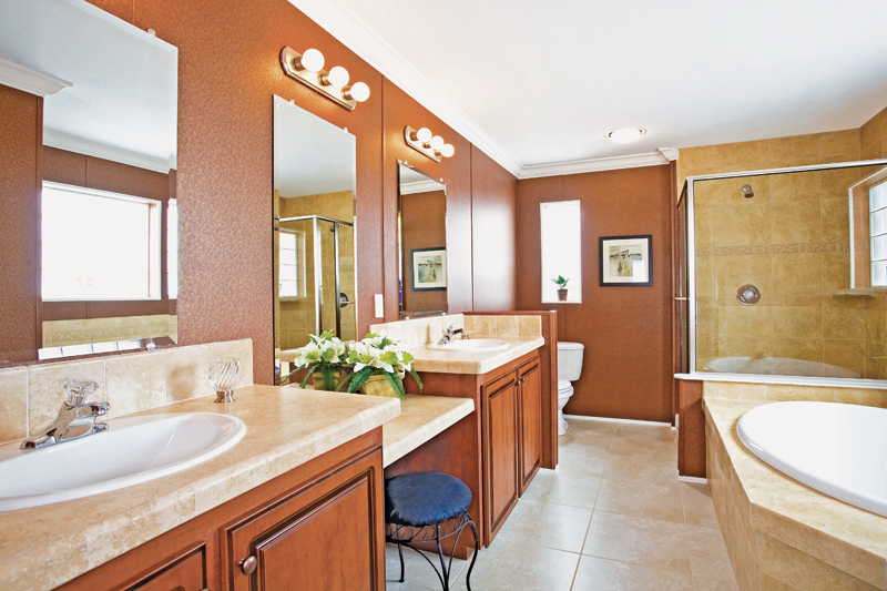 Master bathroom design option at Central Mobile Homes