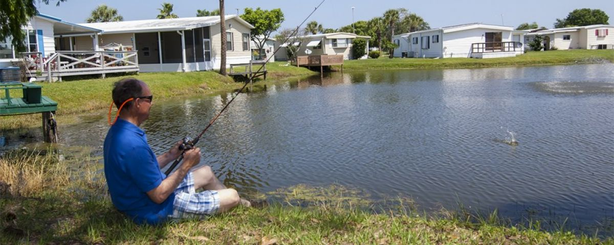 Fishing in a lake at Oakview mobile home community in Arcdia Florida