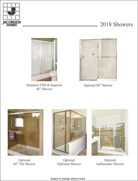 Standard and Optional Showers