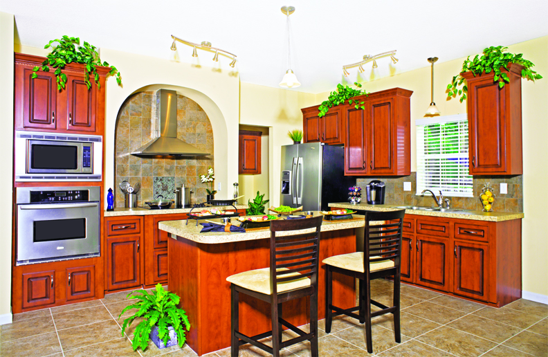 Kitchen with Island and Euro Range Hood and Rounded Arch
