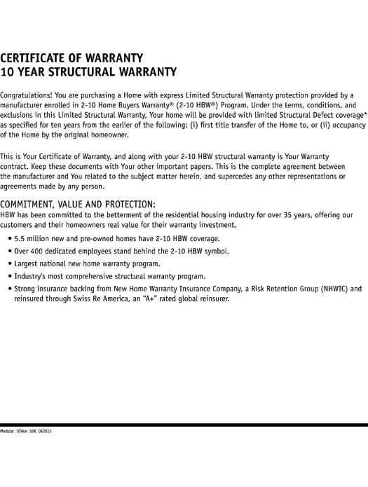 2-10 Modular Homes: 10-Year Structural Warranty Page 2