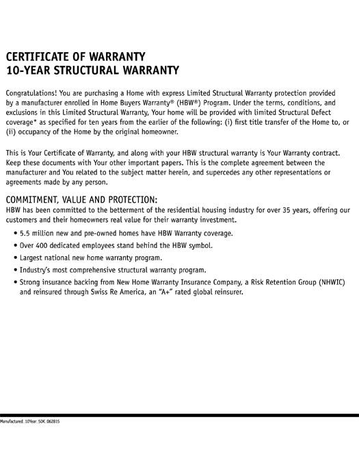 2-10 Manufactured Homes: 10-Year Structural Warranty Page 2