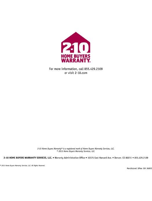 2-10 Manufactured Homes: 10-Year Structural Warranty Page 6