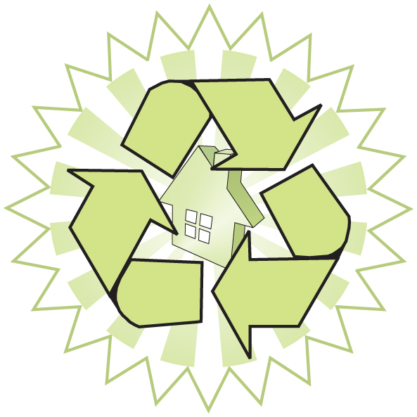 Recycling Logo with Green Arrows